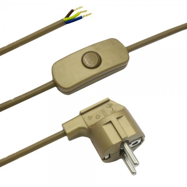 2,00m Anschlusskabel Gold 3x0,75qmm 3G mit Schutzkontaktstecker und Kippschalter Zuleitung