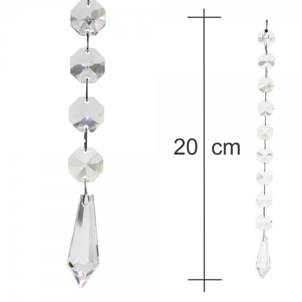 Kristallkette 38mm Birnel mit 14mm Koppen 20cm lang Behangkette Typ-B