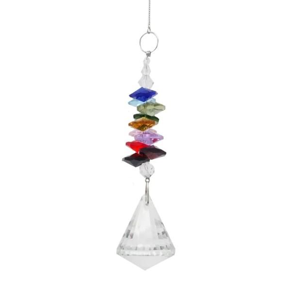 Sonnenfänger Kristall Kegel Pendel mit bunten Kristallsteinen Mobile L. 50cm