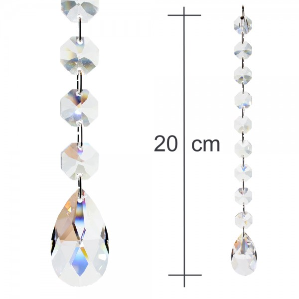 Kristallkette 38mm Tropfen Rautenform mit 14mm Koppen 20cm lang Behangkette Typ-C