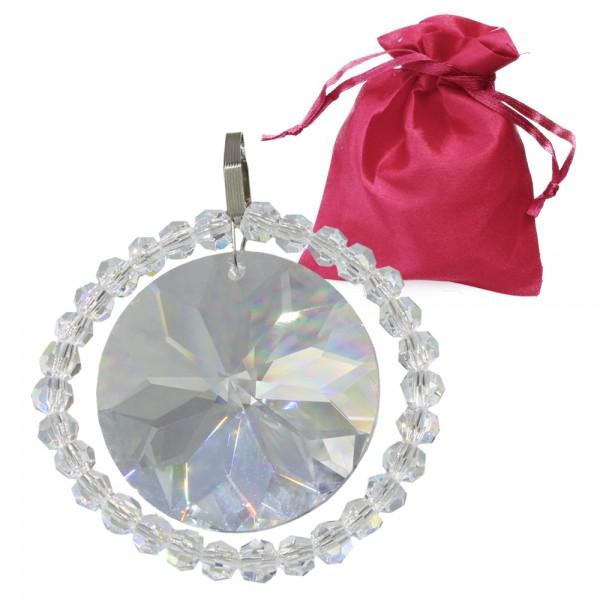 Kristall Anhänger Sonne mit Perlen ø 55mm mit Haken im Geschenk-Beutel