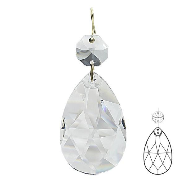 Kristall Pendel Rauten-Wachtel mit Oktagon und Haken, Größe individuell wählbar