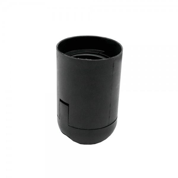 E27 Fassung schwarz Thermoplast 2-teilig Glattmantel u. Rastkappe M10x1 Gewinde