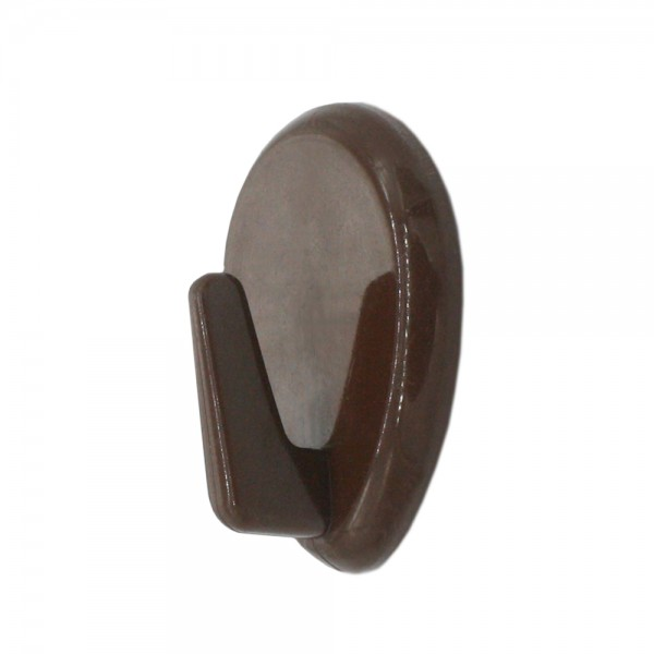 Kunststoff Klebehaken 37x30mm oval braun selbstklebend