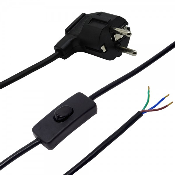 2,00m Anschlusskabel Schwarz 3x0,75qmm 3G mit Schutzkontaktstecker und Kippschalter Zuleitung