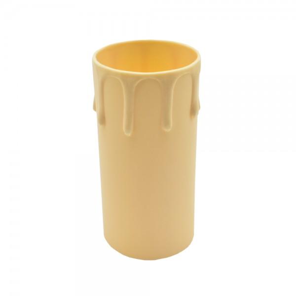 E27 Kerzenhülse ø 40/42mm L. 85mm Weiß / Elfenbein mit Tropfen