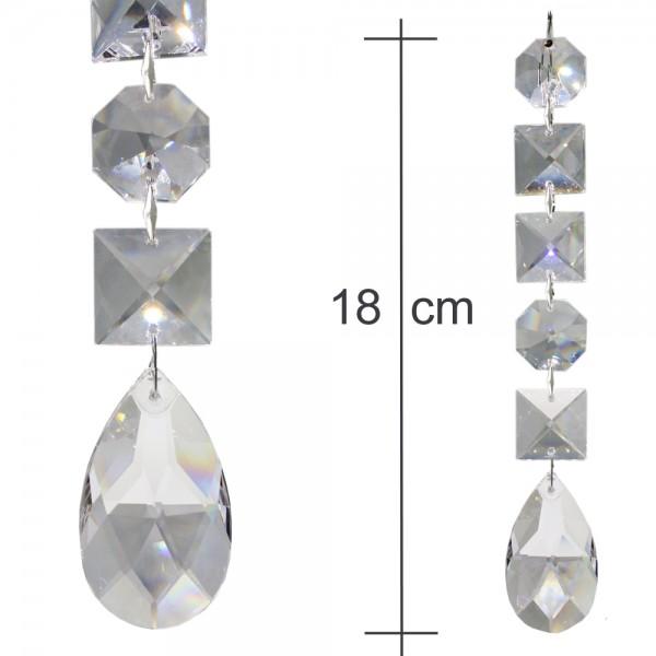 Kristallkette 50mm Tropfen Rautenform mit 22mm Koppen 18cm Behangkette Typ-D