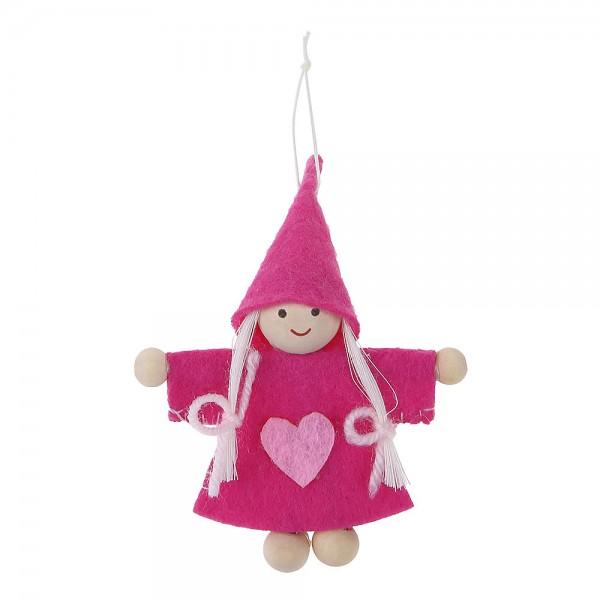Glückswichtel Pink Filz 90x70mm zum verschenken und aufhängen