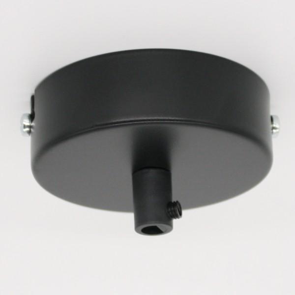 Anschlussdose Schwarz Metall im Set mit Zubehör ø 100x25mm Verteilerbaldachin