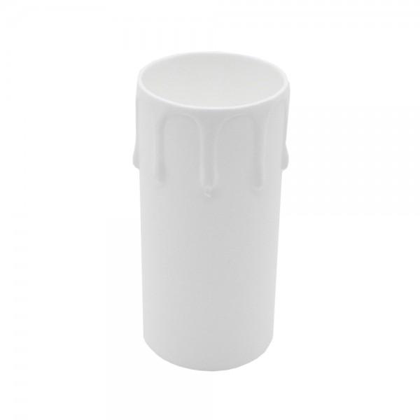 100x E27 Kerzenhülse weiß L. 85mm Kunststoff mit Tropfen