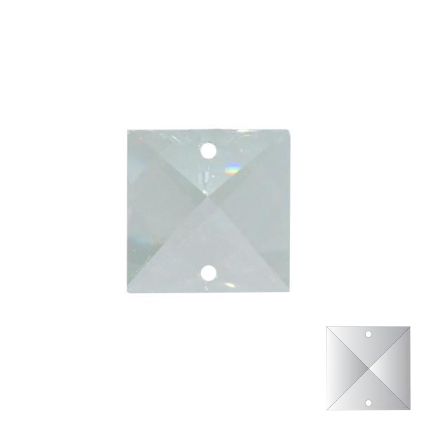 Viereckstein 22x22mm 2-loch kristallklar Bleikristall