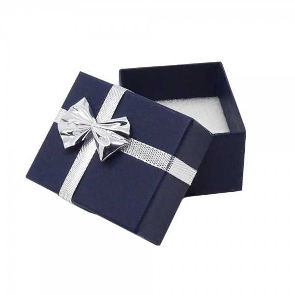 Schmuckschachtel blau mit silber Schleife 55x48x32mm Ringetui