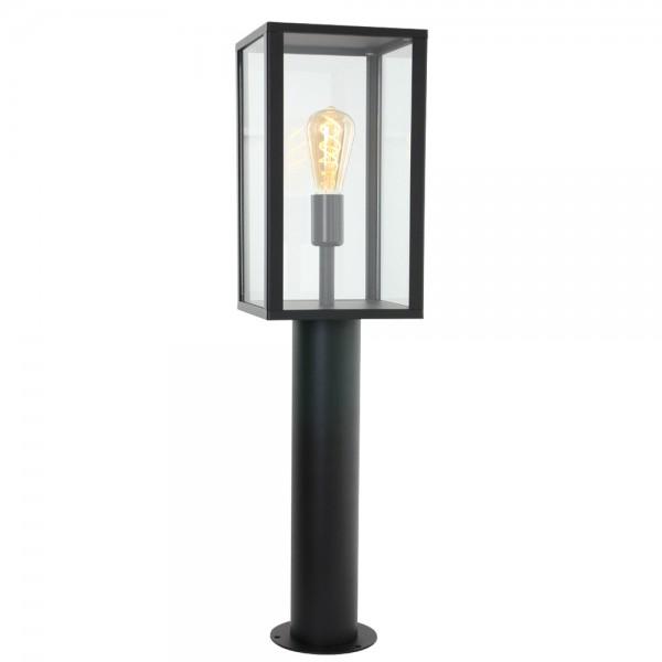 E27 Außen-Stehleuchte Schwarz Metall Glas 1509ZW