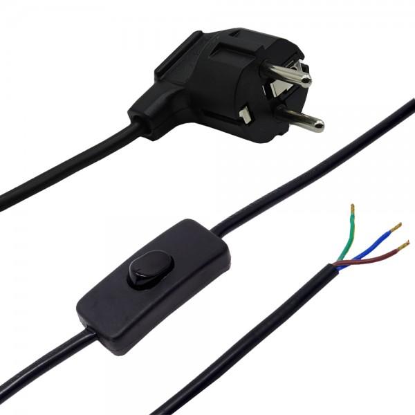 1,50m Anschlusskabel Schwarz 3x0,75qmm 3G mit Schutzkontaktstecker und Kippschalter Zuleitung