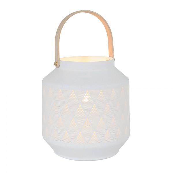 Dekorative Porzellan Tischleuchte mit Loch-Design Weiß E14 3057W