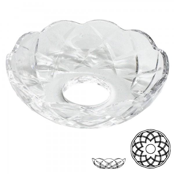 Lichtschale Ø 80mm mit 5x Bohrung 24mm Loch kristallklar X-Muster LC 111.018