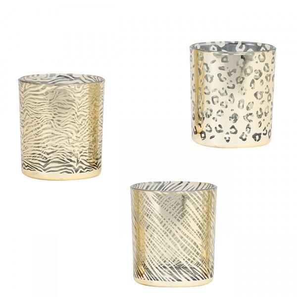 Teelicht 3er Set Gold-Silber Ø 7 x 8cm PENZA Glas Teelichthalter