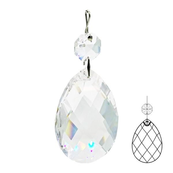 Kristall Pendel Facetten-Wachtel mit Oktagon und Haken, Größe individuell wählbar