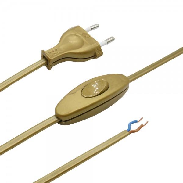 1,50m Anschlusskabel Gold 2x0,75qmm 2G mit Eurostecker und Kippschalter Zuleitung