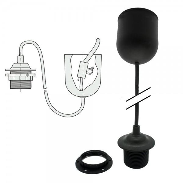 Schnurpendel E27 Schwarz 80cm 230V Deckenpendel Pendel-Leuchte mit Schraubmantel und Schraubring