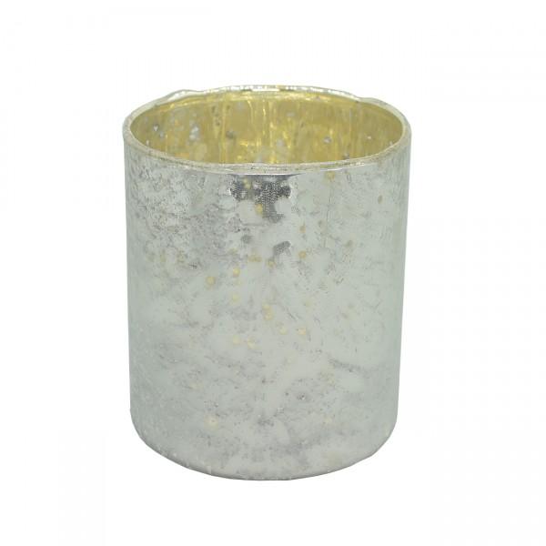 Teelicht Silber Antik Glas Ø8x9 cm NISA matt Teelichthalter Vintage 6186106