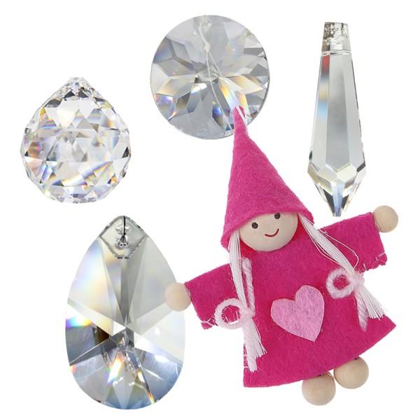 Kristall Sonnenfänger Set mit rosa Wichtel