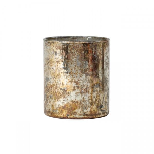 Teelicht Glas Gold-Silber antik Ø 8 x 9cm ARCAS Teelichthalter 6175485