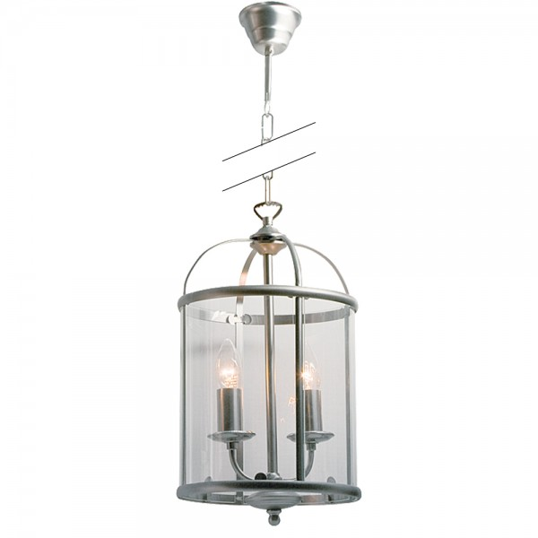 Rustikale Pendelleuchte Silber 2x E14 Laterne Pimpernel Metall Glas 5971ST