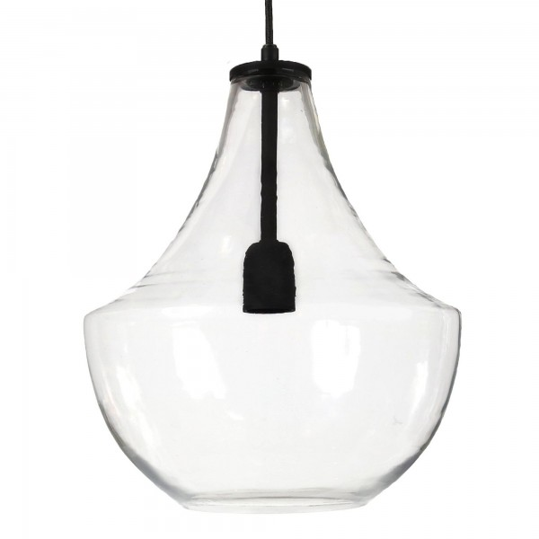 HAMILTON Pendelleuchte Schwarz Glas transparent d. 30mm E27