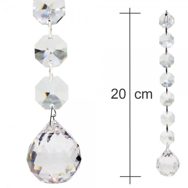 Kristallkette 30mm Kugel mit 18mm Koppen 20cm lang Behangkette Typ-A