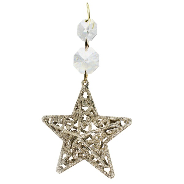 Weihnachtsstern mit Kristall Octagons Gold L. 14 cm Weihnachtsspezial Deko